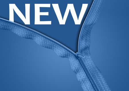 New word under blue zipper photo