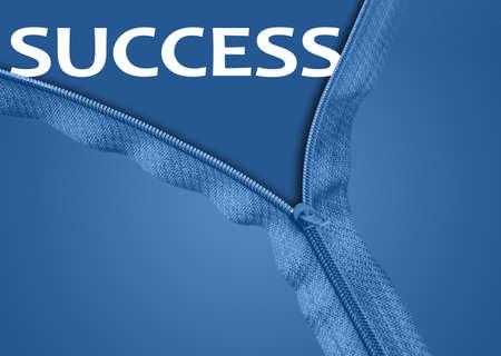 Success word under blue zipper photo