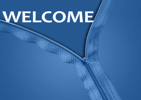 Welcome word under blue zipper photo