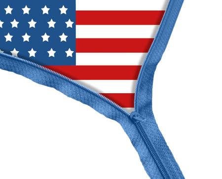 USA flag under blue zipper photo
