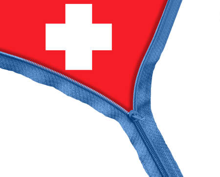 Swiss flag under blue zipper photo