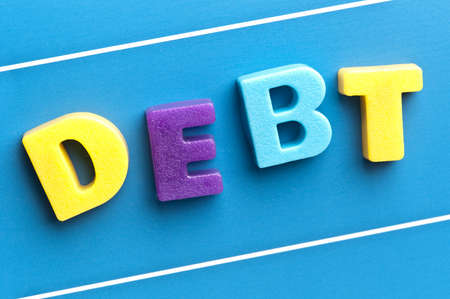 attachement: Debt word on blue board Stock Photo