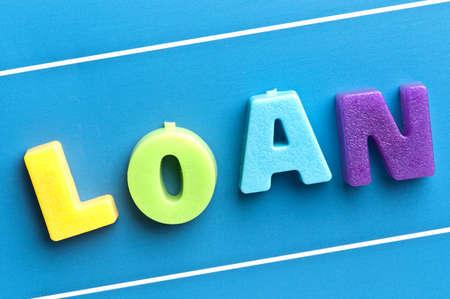Loan word on blue board