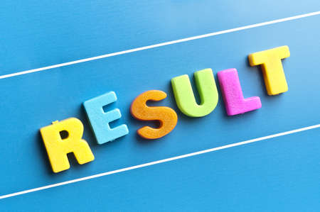 Result word on blue board Stock Photo