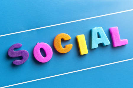 attachement: Social word on blue board Stock Photo