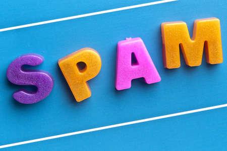 Spam word on blue board