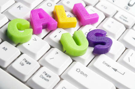 Call Us word made by colorful letters on keyboard Stock Photo - 11529062