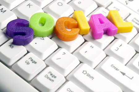 media equipment: Social word made by colorful letters on keyboard