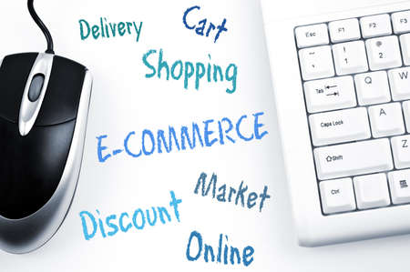 E-commerce word scheme and computer keyboard Stock Photo - 11613947