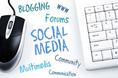 interaccion social: Social Media esquema de palabra y de teclado de la computadora