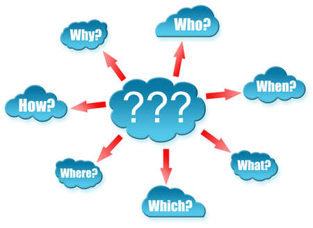 Questions group on cloud scheme Stock Photo - 11615065