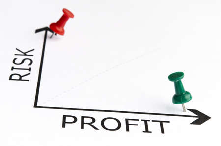 crisis management: Profit chart with green pin