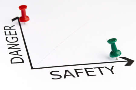 work safety: Safety chart with green pin Stock Photo
