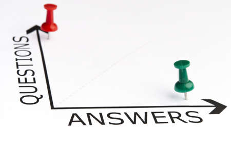 Answers chart with green pin Stock Photo - 11614171