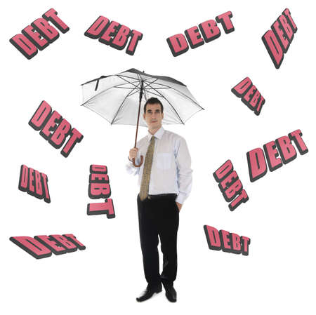 Debt word and business man with umbrella photo