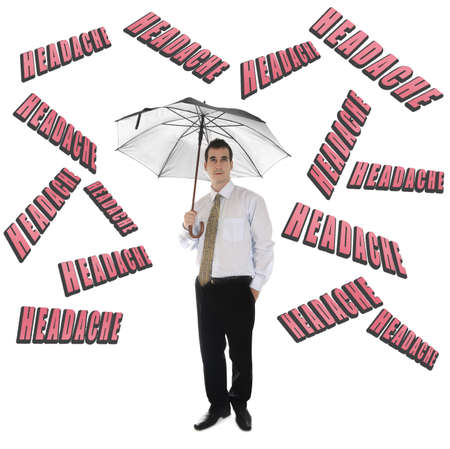 Headache word and business man with umbrella Stock Photo - 11615120