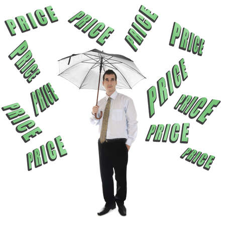 Price word and business man with umbrella Stock Photo - 11615085
