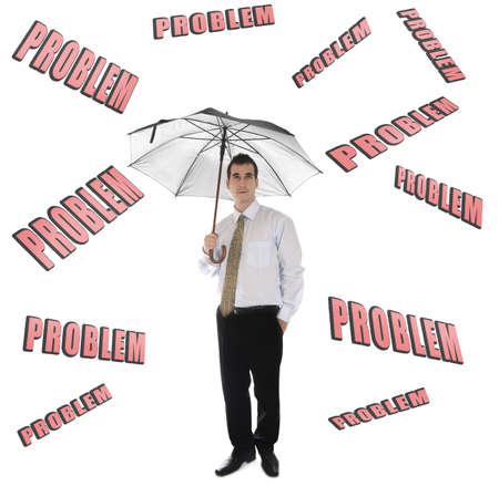 Problem word and business man with umbrella photo
