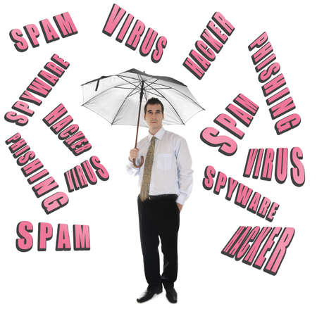 Internet Security word and business man with umbrella Stock Photo - 11615122