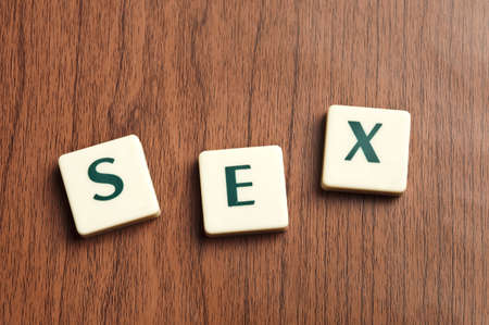 challenging sex: Sex word made by letter pieces