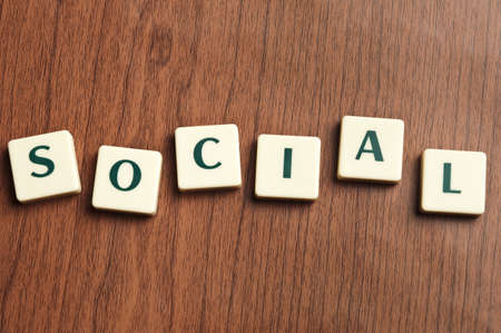 Social word made by letter pieces  photo