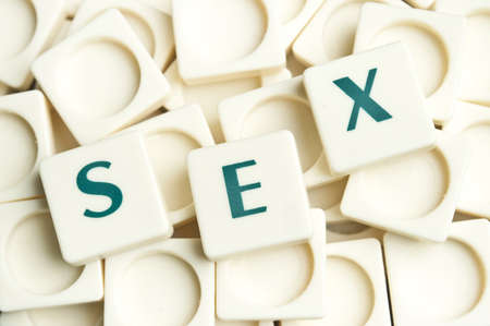 challenging sex: Sex word made by leter pieces Stock Photo
