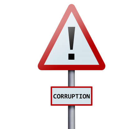 the corruption: Corruption word on road sign