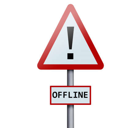 offline: Offline word on road sign Stock Photo