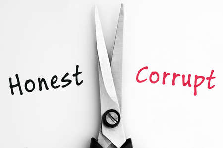 honest: Honest and Corrupt words with scissors in middle