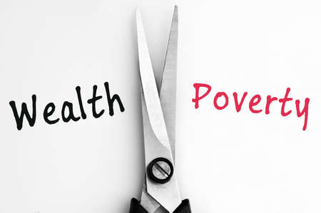 Wealth and Poverty words with scissors in middle