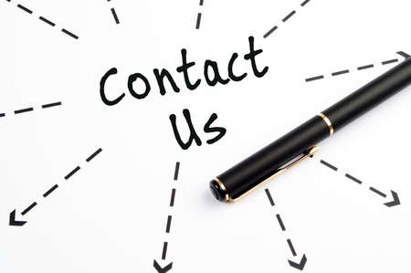 Contact Us word wih arrows and pen Stock Photo - 11615295