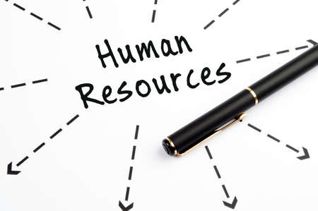choose person: Human resources word wih arrows and pen
