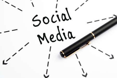 Social Media wih arrows and pen Stock Photo - 11615313
