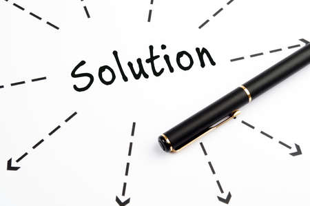 Solution word wih arrows and pen Stock Photo - 11615290