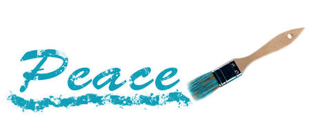 Peace word painted and brush photo
