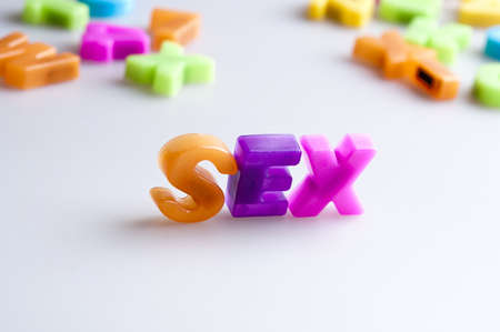 sex education: Sex word made by color letters