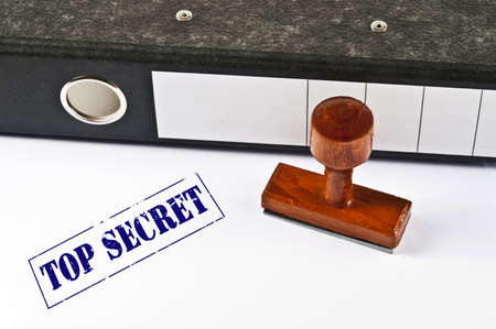 Top Secret stamp on white paper Stock Photo - 11858050