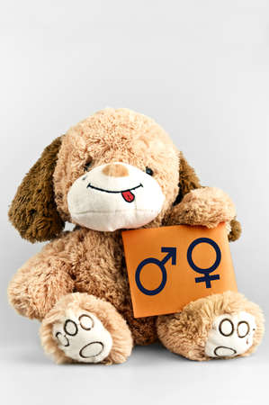 Sex symbols message and toy on white Stock Photo - 11858442