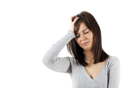 Isolated woman with headache on white Stock Photo - 12904920