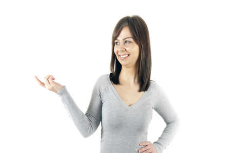 Isolated woman pointing on white photo