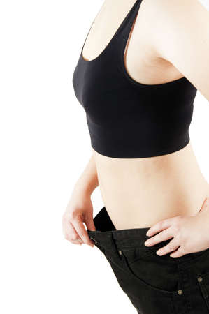 Isolated woman body lose weight Stock Photo - 12904911