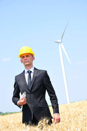 Young worker on wind farm Stock Photo - 14465066