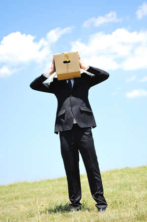 Business man with box on head in nature Stock Photo - 14465029