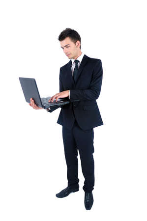 Isolated young business man with notebook Stock Photo