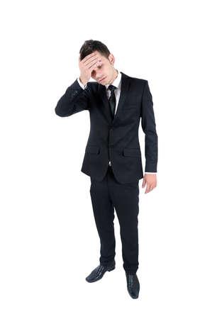 gente triste: Aislado el hombre de negocios joven que el dolor de cabeza