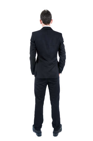 man rear view: Isolated young business man back view