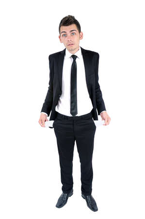 indebted: Isolated young business man indebted Stock Photo