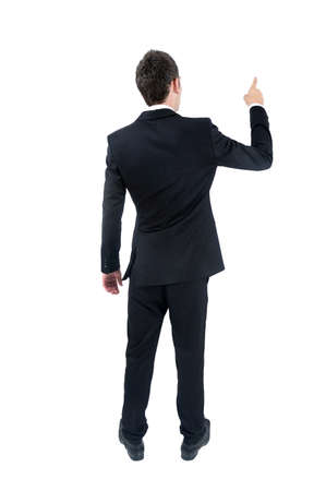 pointed arm: Isolated young business man pointing