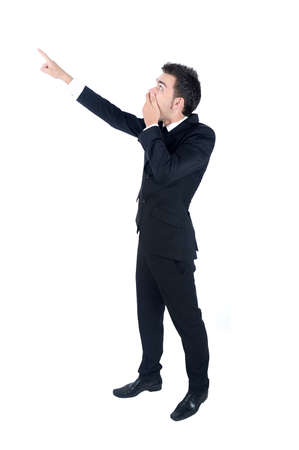 fingering: Isolated young business man amazed Stock Photo