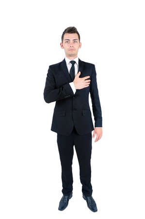 Isolated young business man standing Stock Photo - 14664598